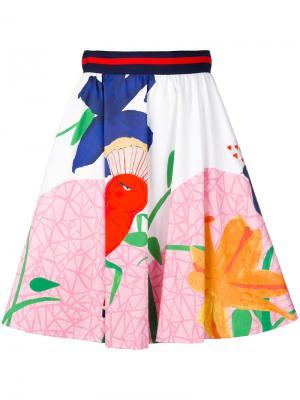 Плиссированная юбка с завышенной талией Alice+Olivia. Цвет: многоцветный