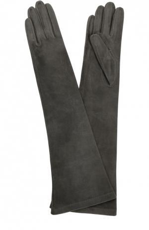 Удлиненные замшевые перчатки Sermoneta Gloves. Цвет: темно-серый