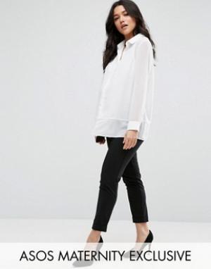 ASOS Maternity Офисные брюки до щиколотки для беременных. Цвет: черный
