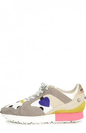 Комбинированные кроссовки Morgan с аппликацией Dolfie. Цвет: серый