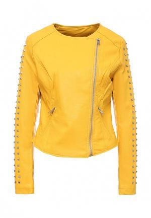 Куртка кожаная B.Style. Цвет: желтый