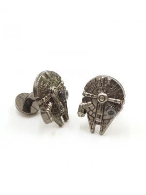 Запонки звездные войны сокол Тысячелетия Churchill accessories. Цвет: серебристый