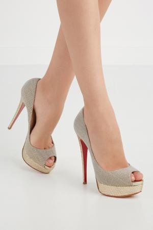Туфли Lady Peep 150 Christian Louboutin. Цвет: серебряный, золотой