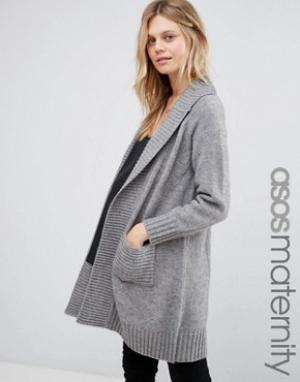 ASOS Maternity Пальто-кардиган со спинкой в рубчик для беременных. Цвет: серый