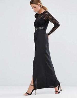 Elise Ryan Платье макси с кружевной отделкой и высоким разрезом. Цвет: черный