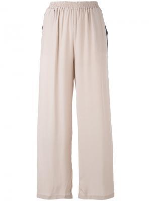 Широкие штаны в спортивном стиле Gold Hawk. Цвет: розовый и фиолетовый