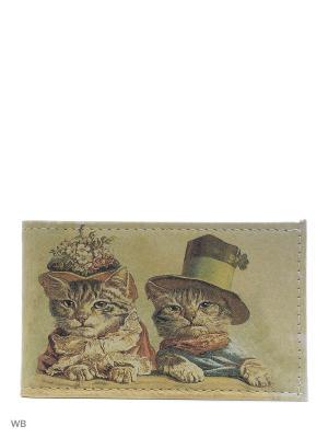 Визитница Ретро коты Eshemoda. Цвет: коричневый