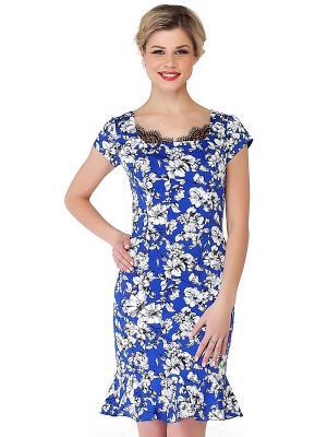Платье KEY FASHION. Цвет: синий, белый