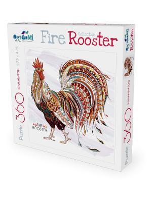 Пазл Символ Года. FireRooster Золотой петух. Origami. Цвет: белый, красный, оранжевый