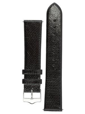 Классический ремешок для часов из кожи ящерицы. Ширина 22 мм Signature. Цвет: черный