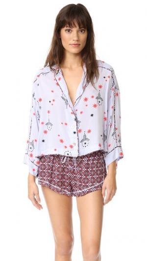 Принтованная пижама с шортами Free People. Цвет: комбинированный фиолетовый