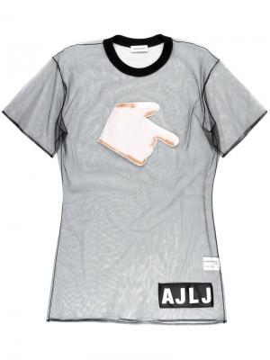 Полупрозрачный топ с нашивкой-рукой Au Jour Le. Цвет: чёрный