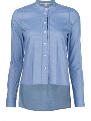 Рубашка с неравномерным подолом Veronica Beard. Цвет: синий