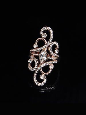 Кольцо Ajour de Paris с кристаллами Swarovski Mademoiselle Jolie. Цвет: бежевый, светло-желтый, прозрачный, золотистый, персиковый, кремовый, желтый