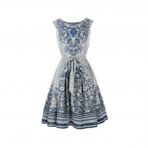 Платье без рукавов с рисунком RENE DERHY. Цвет: наб. рисунок синий