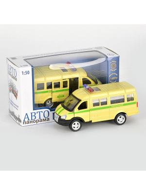Машинка металлическая инерц. Инкасация 1:50, открываются двери в/к АВТОПАНОРАМА. Цвет: желтый, черный, зеленый