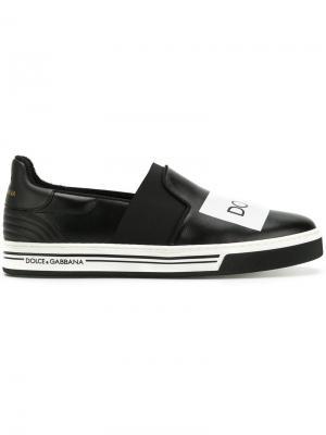 Кеды с заплаткой логотипом Dolce & Gabbana. Цвет: чёрный