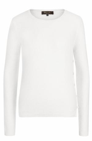 Пуловер из смеси кашемира и шелка с круглым вырезом Loro Piana. Цвет: белый