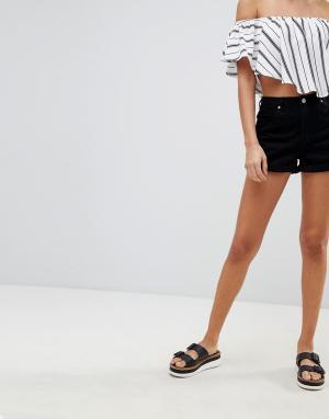 Missguided Джинсовые шорты с завышенной талией Riot. Цвет: черный