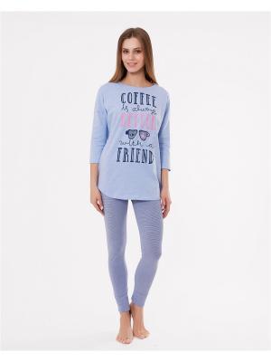 Комплект одежды: лонгслив, леггинсы Mark Formelle. Цвет: голубой, розовый