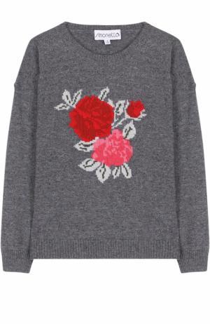 Вязаный пуловер из смеси шерсти и кашемира Simonetta. Цвет: серый