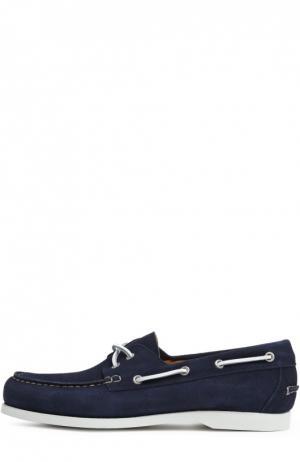 Замшевые топсайдеры с контрастным шнурком Kiton. Цвет: темно-синий