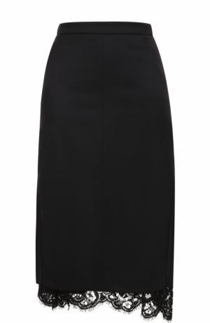 Шерстяная юбка-миди с кружевной вставкой Dorothee Schumacher. Цвет: черный