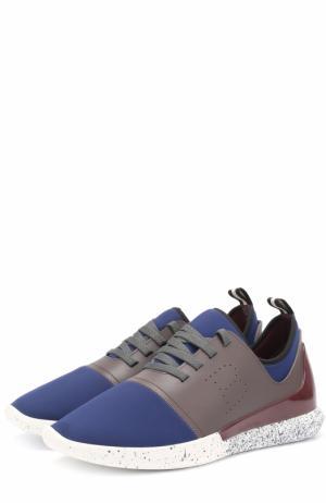 Кроссовки из неопрена с отделкой натуральной кожи Bally. Цвет: синий
