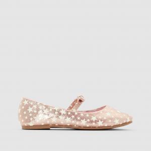 Балетки с эластичным ремешком, мотивом звезды La Redoute Collections. Цвет: розовый