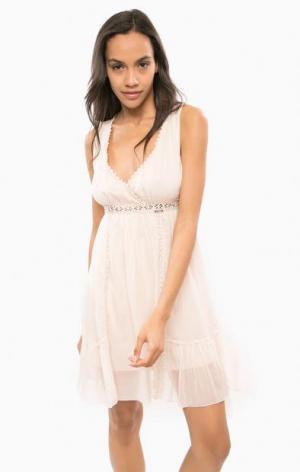 Коктейльное шелковое платье розового цвета Guess. Цвет: розовый