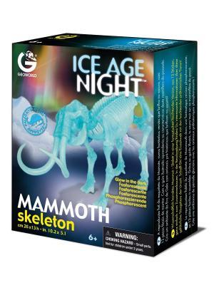 Сборная модель светящаяся Скелет Мамонта Geoworld. Цвет: бежевый, голубой, желтый, зеленый, коричневый, светло-бежевый, темно-бежевый