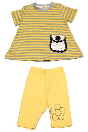 Комплект: футболка, бриджи Kidly. Цвет: желто-серый