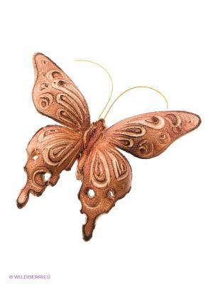 Брошь Бабочка Мастер ГРиСС. Цвет: светло-коричневый, бежевый