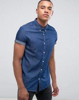 Burton Menswear Узкая джинсовая рубашка с короткими рукавами. Цвет: темно-синий