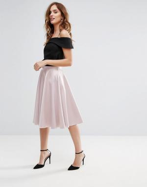 Closet London Атласная юбка миди. Цвет: розовый