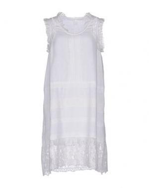 Короткое платье 120% LINO. Цвет: белый