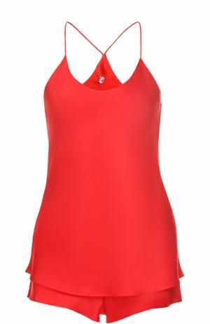 Шелковая пижама Olivia Von Halle. Цвет: красный