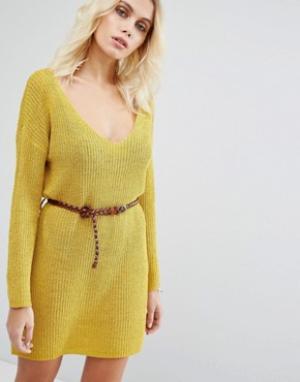 Goldie Вязаное платье-джемпер с ремнем No Other Way. Цвет: желтый