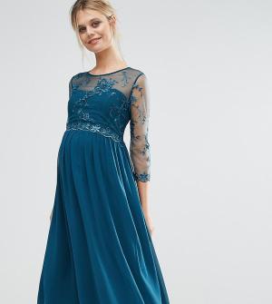 Little Mistress Maternity Приталенное платье для беременных с цветочной аппликацией Mistr. Цвет: зеленый