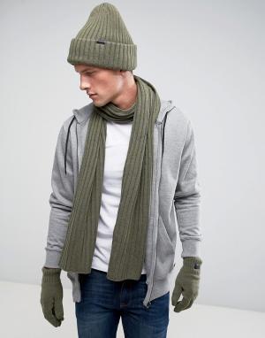 G-Star Подарочный набор с шапкой-бини, шарфом и перчатками. Цвет: серый