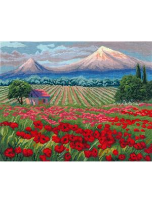 Священная гора набор для вышивания 51х40 см NITEX. Цвет: красный, голубой, зеленый