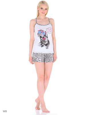 Пижама женская MARSOFINA. Цвет: малиновый, белый