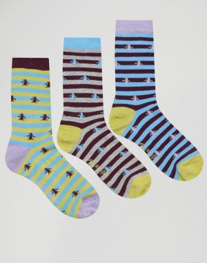 Penguin Набор из 3 пар носков в полоску и с принтом. Цвет: фиолетовый