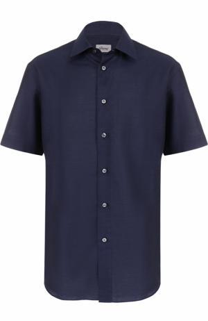 Рубашка из смеси льна и хлопка с короткими рукавами Brioni. Цвет: темно-синий