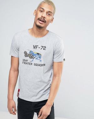 Alpha Industries Серая меланжевая футболка классического кроя с принтом Industrie. Цвет: серый