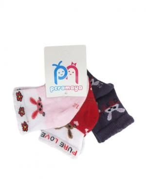 Носки детские, 3 пары PERA MAYA. Цвет: красный, розовый, серый