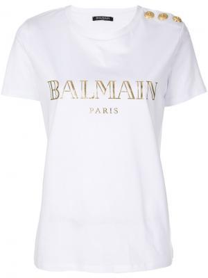 Logo printed T-shirt Balmain. Цвет: белый