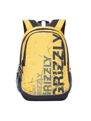 Рюкзак Grizzly. Цвет: темно-серый, светло-желтый