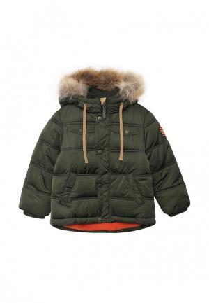 Куртка утепленная Gulliver. Цвет: хаки