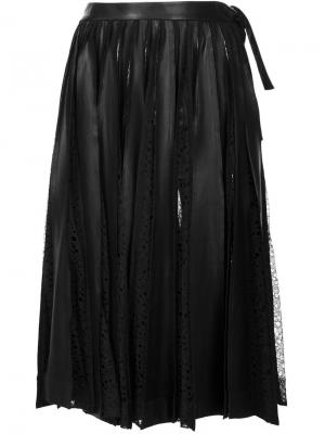 Ruched lace detail skirt Jonathan Cohen. Цвет: чёрный